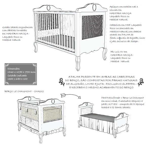 Kit para transformar berço em mini cama Le Chaumont Colorido