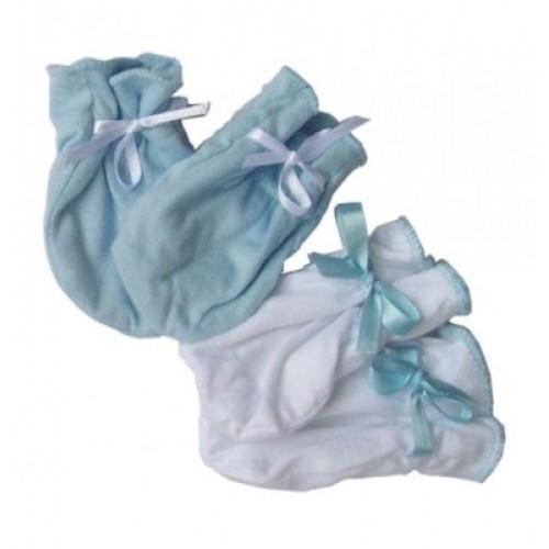Luvas de Algodăo Egípicio Azul e Branco
