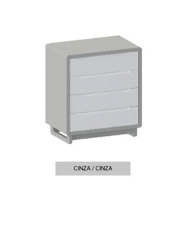 Cômoda Bo Cinza com 4 gavetas e pés em Color