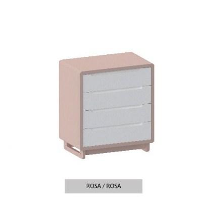 Cômoda Bo Rosa Old com 4 gavetas e pés em Color
