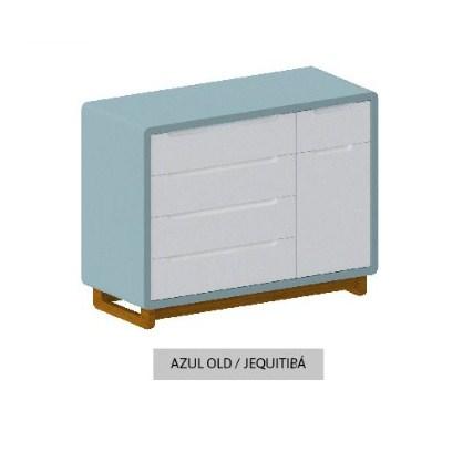 Cômoda Bo Azul 5 gavetas com Porta com pés Jequitibá