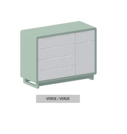 Cômoda Bo Verde Old 5 gavetas com Porta com pés Color