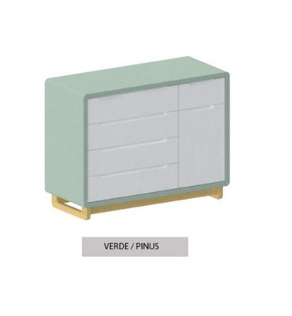 Cômoda Bo Branca 5 gavetas com Porta com pés Color