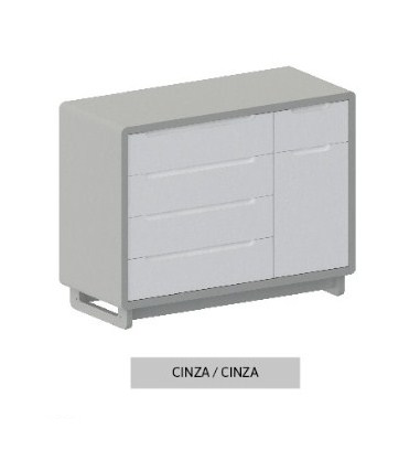 Cômoda Bo Cinza 5 gavetas com Porta com pés Color