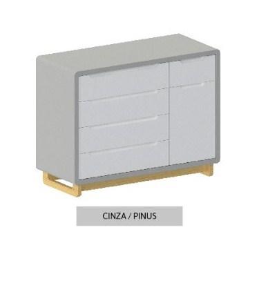 Cômoda Bo Cinza 5 gavetas com Porta com pés Pinus
