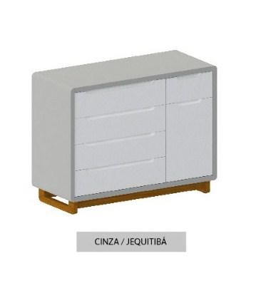 Cômoda Bo Cinza 5 gavetas com Porta com pés Jequitibá