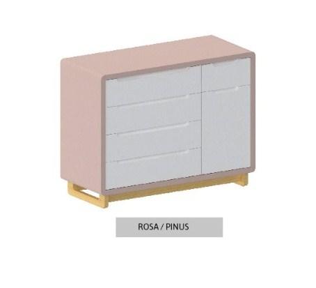 Cômoda Bo Rosa 5 gavetas com Porta com pés Pinus