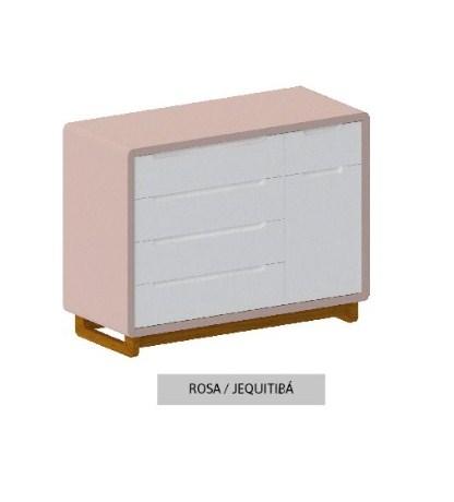 Cômoda Bo Rosa 5 gavetas com Porta com pés Jequitibá