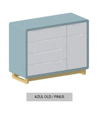 Cômoda Bo Azul Old 5 gavetas com Porta com pés Pinus