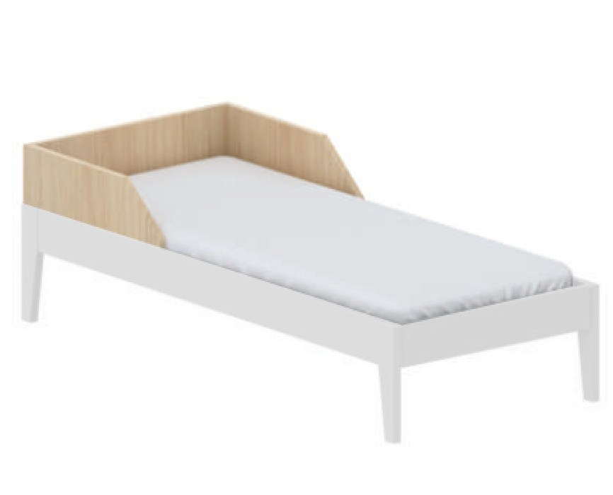 Cama Smart Branco com madeira