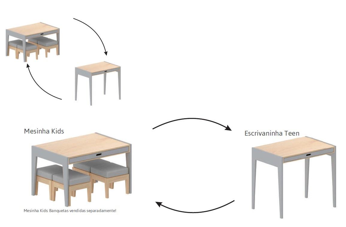 Mesa/ Escrivaninha Smart Colorida com Madeira