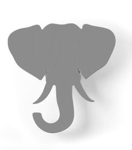 Troféu de Parede Elefante Acrílico Cinza