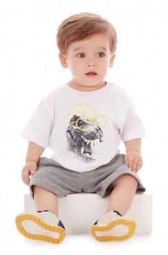 Conjunto Camiseta Malha e Bermuda Moletinho