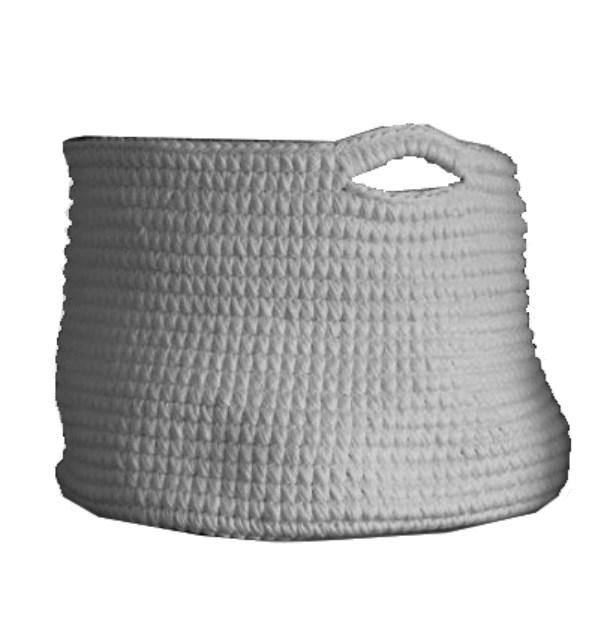 Cesto Crochet G Cinza