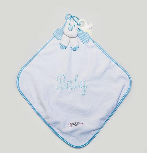 Blanket Cetim Listrado Baby Azul Bebê