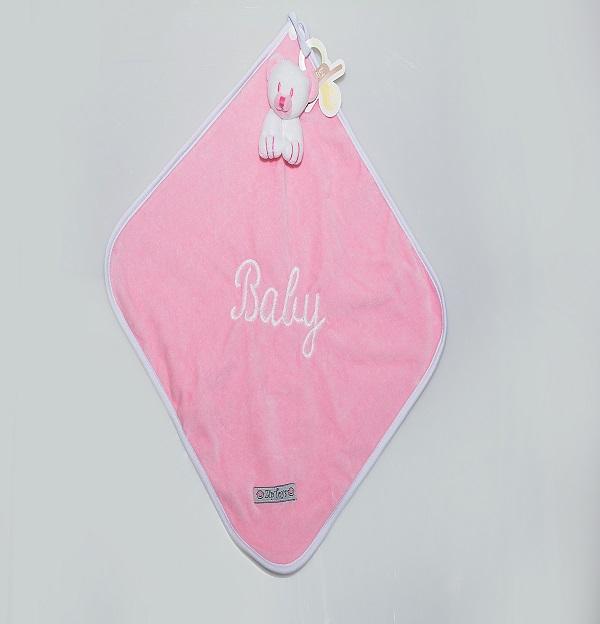 Blanket Cetim Urso Rosa Bebê