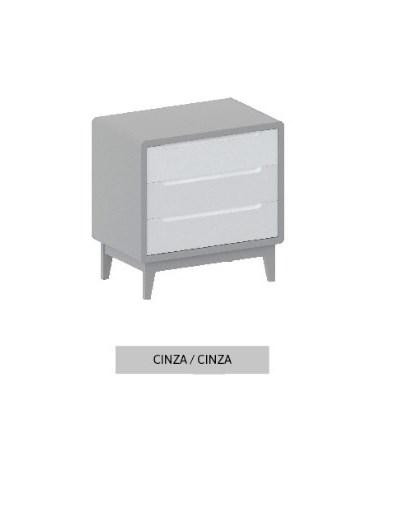 Cômoda Bo Cinza com 3 gavetas e pés em color
