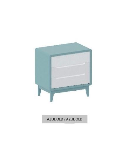 Cômoda Bo Azul Old com 3 gavetas e pés em color