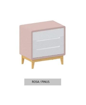 Cômoda Bo Rosa Old com 3 gavetas e pés em pinus