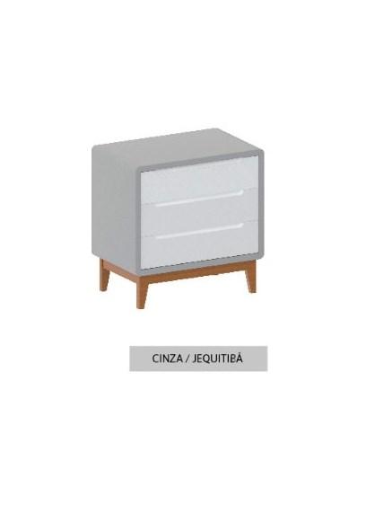 Cômoda Bo Cinza com 3 gavetas e pés em Jequitibá