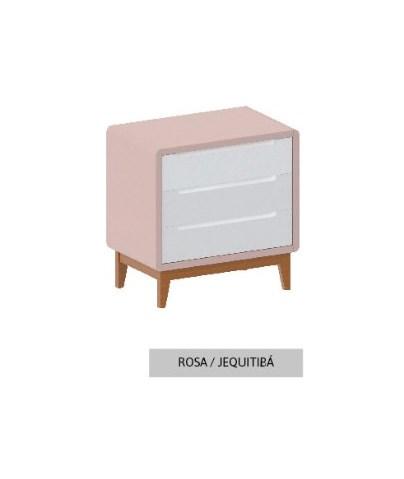 Cômoda Bo Rosa Old com 3 gavetas e pés em Jequitibá