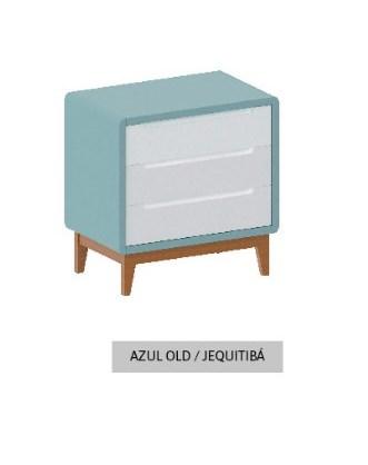 Cômoda Bo Azul Old com 3 gavetas e pés em Jequitibá