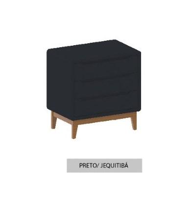 Cômoda Bo Preto com 3 gavetas e pés em color Jequitibá