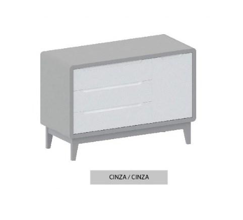 Cômoda Bo Cinza com 3 gavetas e Porta com pés em color