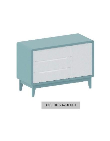 Cômoda Bo Azul Old com 3 gavetas e Porta com pés em color