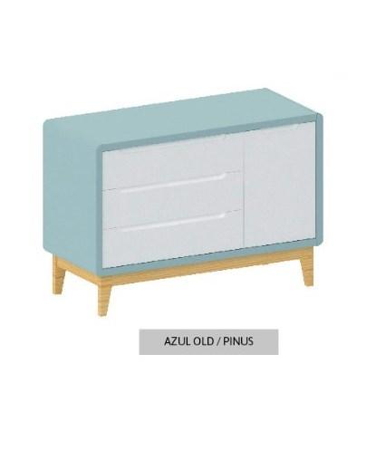 Cômoda Bo Azul Old com 3 gavetas e Porta com pés em color Pinus