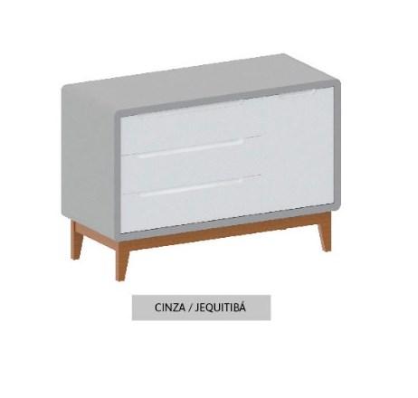Cômoda Bo Cinza com 3 gavetas e Porta com pés em Jequitibá