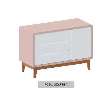 Cômoda Bo Rosa Old com 3 gavetas e Porta com pés em color Jequitibá