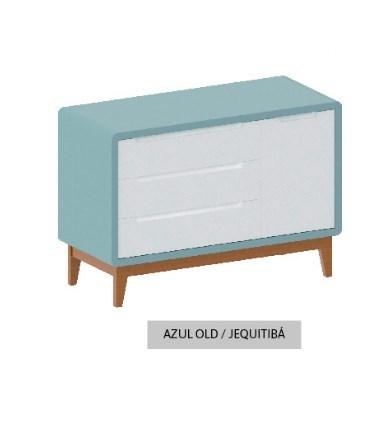 Cômoda Bo Azul Old com 3 gavetas e Porta com pés em Jequitibá
