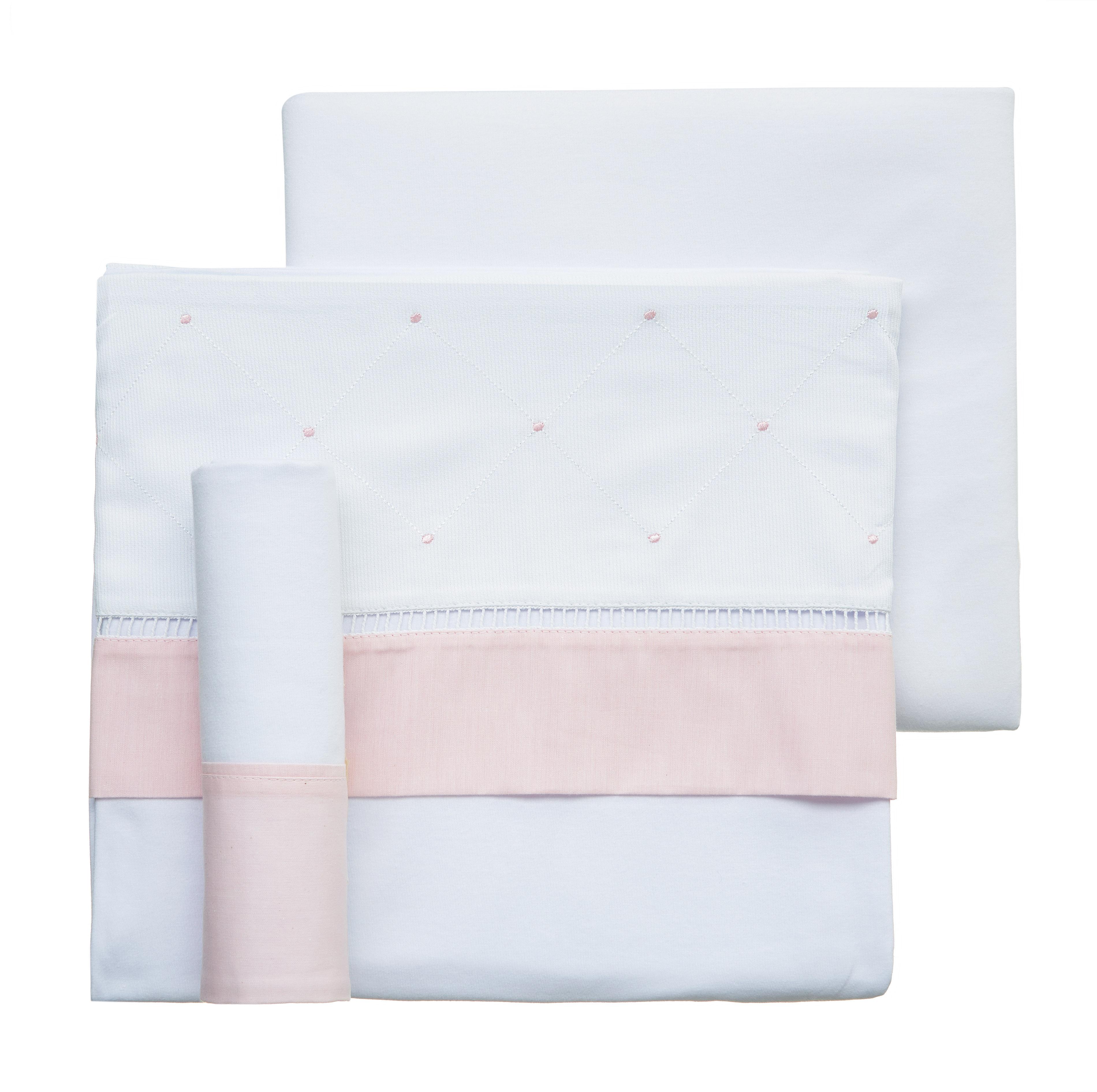 Lençol de berço malha clássico rosa 3pçs