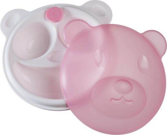 Prato térmico urso com ventosa rosa
