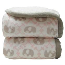 Cobertor inf 0,75 x1,00 laço sharpam elefante rosa
