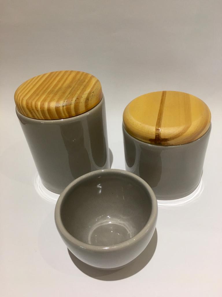 Kit cinza tampa madeira 3pçs
