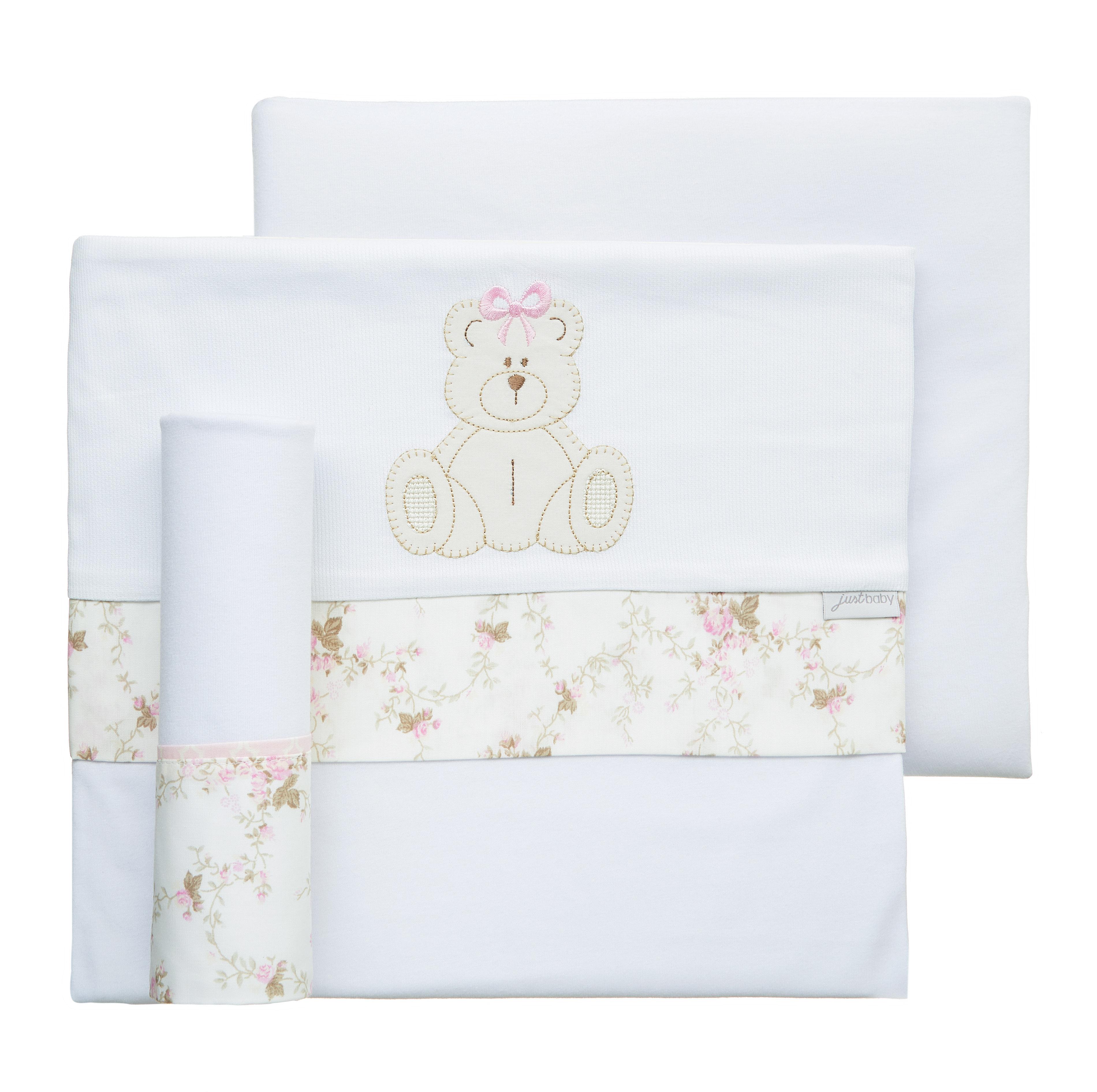 Jogo de lençol de berço malha ursinha
