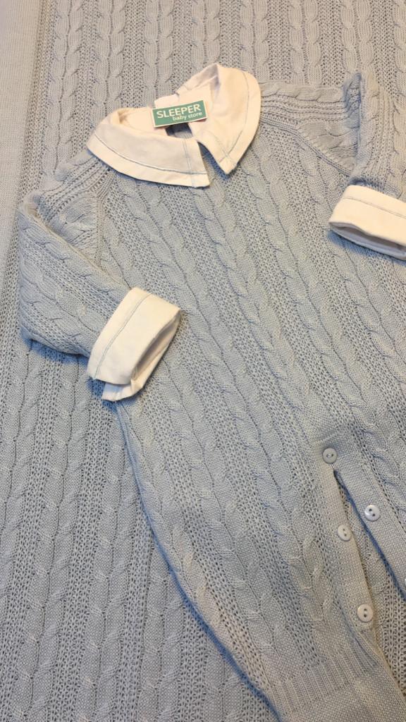 saída de maternidade em tricot cordatrança azul
