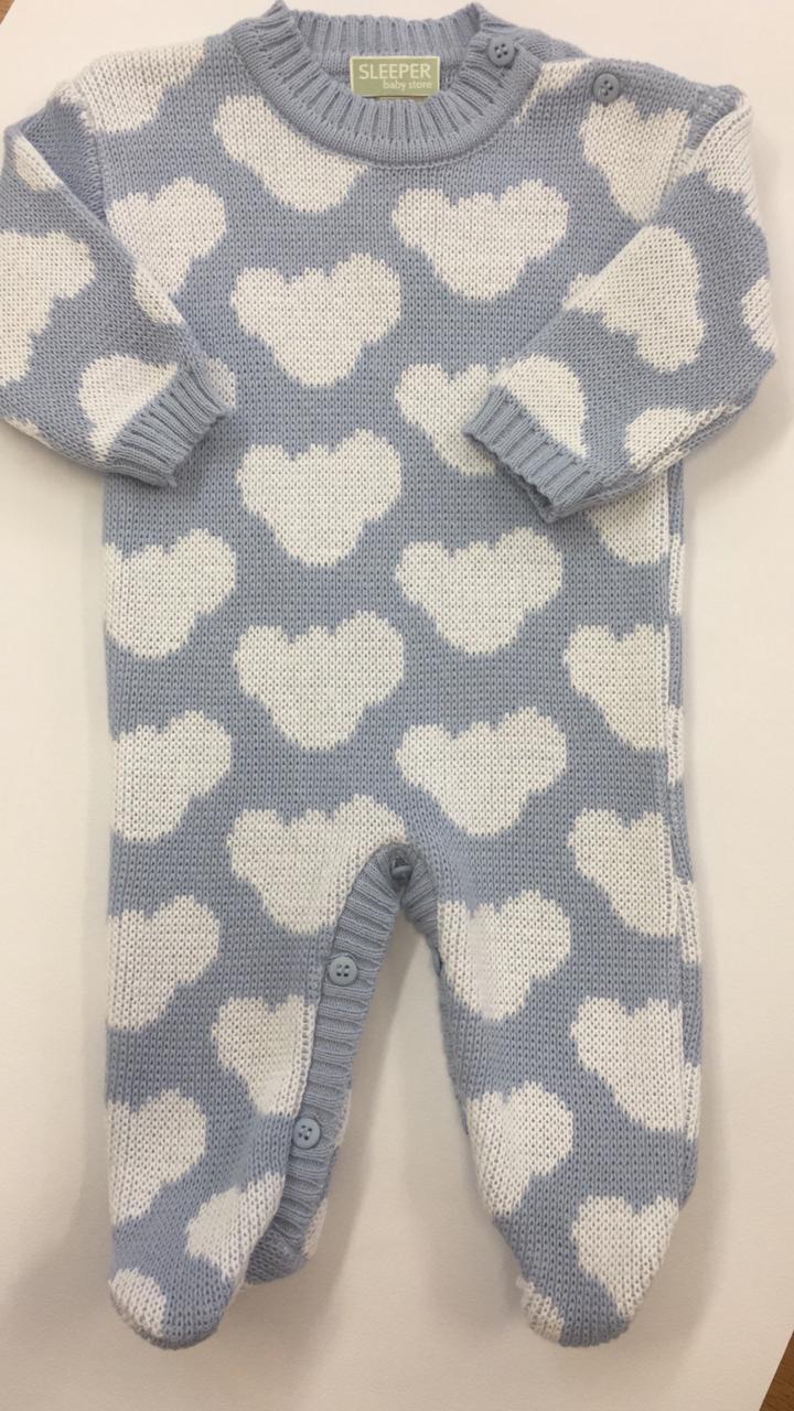 Macacão ive nuvem azul em tricot