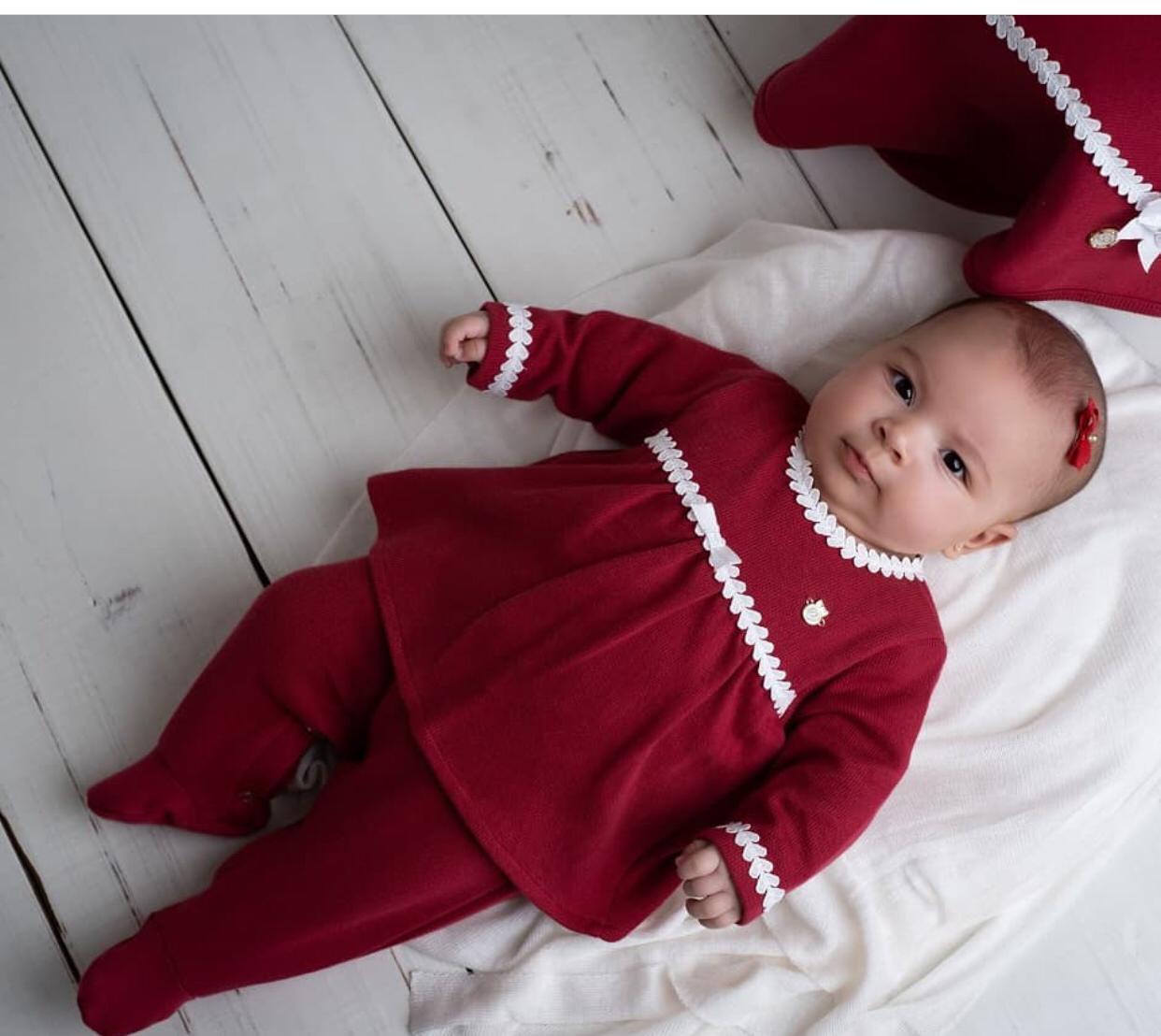 Saida de maternidade malha tricotada vermelha