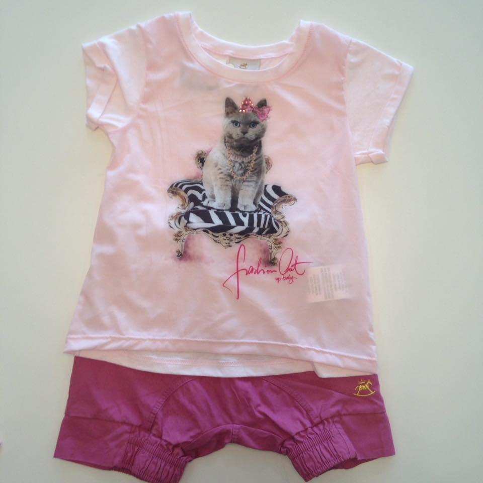 Conjunto blusa malha e tecido + short tecido